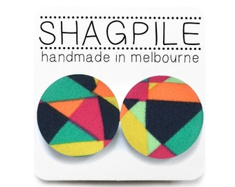 FREE SHIPPING!!! Large Covered Button Earrings - Geometric, Fragment, Rainbow Print