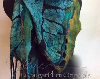 Nuno Felted Scarflette / Shawlette a SugarPlum Original by J. Gauger