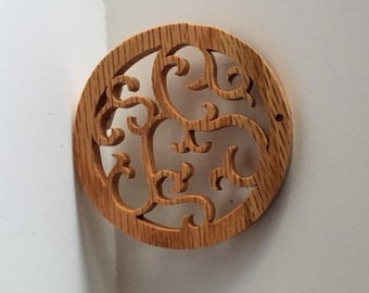 Round Ornaments - Christmas Woodcuts - Set of 3 Wooden Decorations