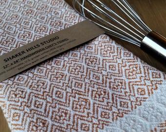 Orange Towel Handwoven Susatinable Cotton Organic Cottolin