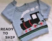Kids Train Pullover Childs Sweater, Size 4 Light Blue Handknitted Train Pulli Jersey