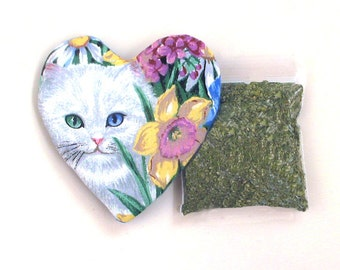 Catnip Heart Toy with Catnip Refillable White Kitten and Flowers