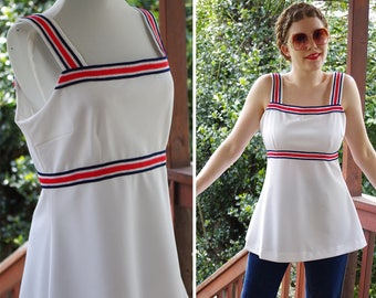 Red STRIPE 1960's 70's Vintage White Red + Navy Blue Striped Tank Top // Sporty Tennis Top // size Medium // by Keddie Kreations