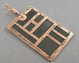 Frank Lloyd Wright Inspired Copper Pendant
