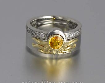RESERVED for L. 2nd payment - Sun and Moon ECLIPSE engagement and wedding ring set in silver & 18k gold with Yellow Sapphire