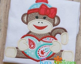Sock Monkey Girl with Heart Applique Design 4x4, 5x7, 6x10, 8x8