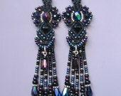 Beaded Fringed Macrame Earrings in Black and Iris Glass Beads, Macrame Bead Earrings, beaded earrings, Black Earrings, Goddess style, Boho
