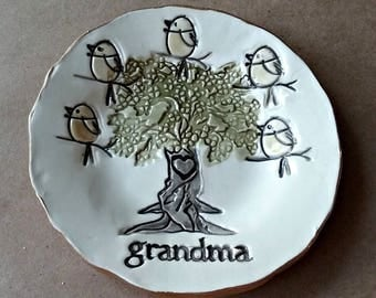 Ceramic Trinket Dish Grandma 5 birdies Mothers day