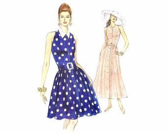 Misses Sleeveless Flared Dress Vogue 8287 Sewing Pattern Size 6 - 8 - 10 Bust 30 1/2 - 31 1/2 - 32 1/2 Uncut