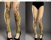 SALE//17%off// Tattoo Tights -  nude color one size Triple Deer full length printed tights footless pantyhose tattoo socks,printed tights, n