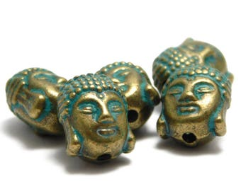 Buddha Head - Buddha Beads - Mala Beads - Bronze Buddha - Green Patina - Yoga Jewelry - Meditation Beads - 11x9mm (3094) 10pcs