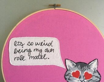"""Youre awesome SALE My own role model  - hand embroidered """"Mindy Kaling / Mindy Project / Mindy Lahiri"""" inspired wall hanging with cat appliq"""