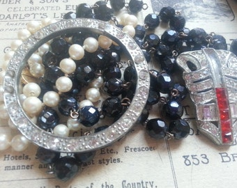 Repurpose Jewelry ... Faux Pearls Black Glass Necklace Shabby Rhinestones ... Jewelry Supply, Steampunk