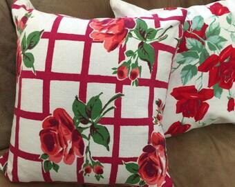 Vintage Linen Rose Throw Pillow