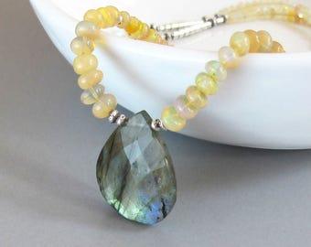 Ethiopian Opal Labradorite Necklace Sterling Silver Gemstone DJStrang Blue Yellow Orange Green Color Flashing Briolette Boho Cottage Chic