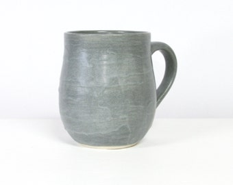 Handmade Mug Grey, Porcelain Mug in Matte Grey, 10 Ounce Pottery Mug