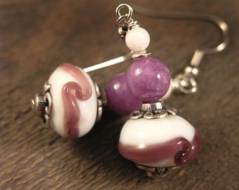 Purple swirl on white lamp work glass beads, quartzite stone, and silver handmade earrings