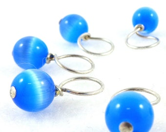 Periwinkle Stitch Marker Drops for Knitting or Crochet (Choose Your Size - Set of 8)