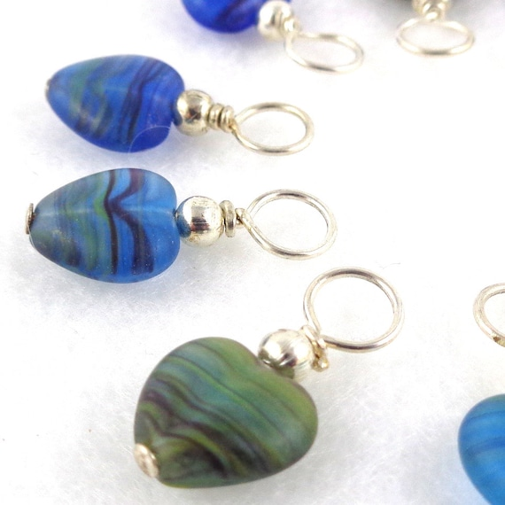 Blue Heart Droplet Stitch Markers Knitting or Crochet (Choose Your Size - Set of 10)