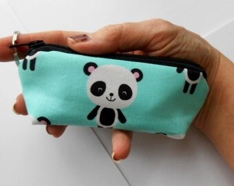 Mini Key Chain Zipper Pouch ECO Friendly Padded Lip Balm Case NEW Pandas on Aqua
