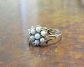 Georgian Repro 9K Gold and Pearl Ring