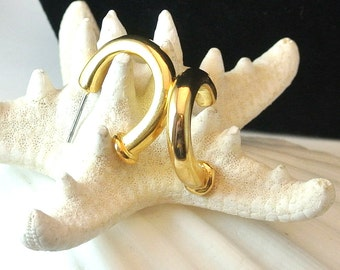 1970 Gold Tone Hoop Earrings, Gold Tone Vintage Earrings, Half Hoop Earrings