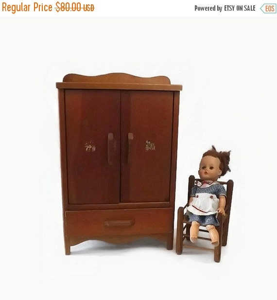 Vintage wooden doll armoire toy wardrobe by
