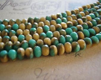 Turquoise and Beige Beads 5 x 3 mm Faceted Rondelle Czech Glass 10 Beads