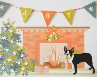 Christmas Holidays Boston Terrier JOY Banner Tree Fireplace Flag Garland Blank Note Card with Envelope