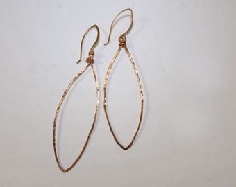 Copper Dangle Hoop Earrings, 14K Gold Fill Earrings, Long Earrings, Wire Earrings, Silver Earrings, Minimalist Jewelry, By Durango Rose