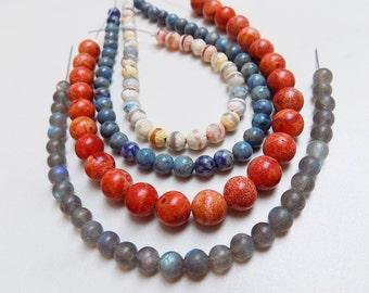 Four round bead strands