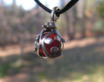 Ladybug Pendant Sterling Silver With Carnelian