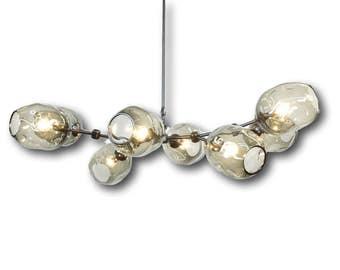 7 Globe Gray Hand Blown Glass Staccato Branch Chandelier Hanging Light Sculpture