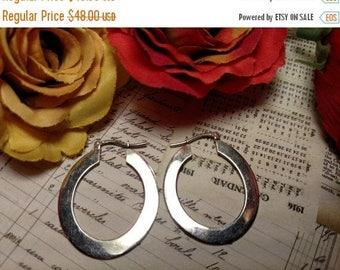 Mod Unusual Vintage Hammered Large Sterling Silver Hoop Earrings Pierced
