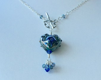 Swarovski Crystal and Lampwork Beaded Dangle Heart Necklace hand made srajd summer seashore