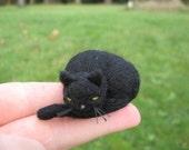 Miniature Needle Felted Black Cat Sleeping