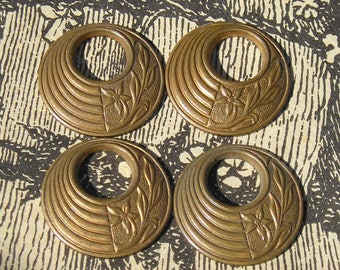 Superb USA made vintage thick struck brass circle round stampings for earrings or pendant drops.