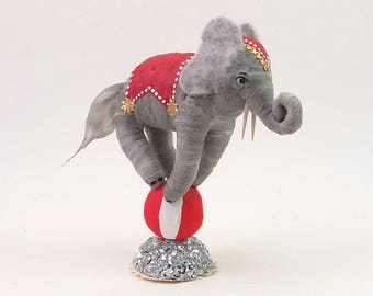 Vintage Inspired Spun Cotton Circus Elephant Figure
