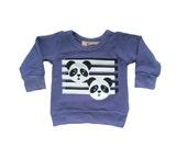 Panda print bamboo fleece baby toddler kids sweatshirt 6-12 months through 6 years! Ready to ship