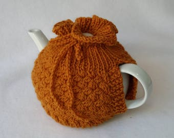 Cable Knit Teapot Cozy tea cosy, tea accessories wool cosy - cross cabling  medium in pumpkin wool