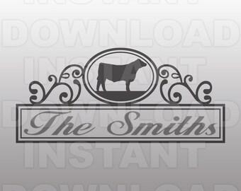 Stockshow Steer Mailbox Nameplate SVG File,Cattle SVG File,Cow svg file