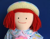 Vintage Madeline Doll by Eden 1990s Toy Sunshine Spring Straw Hat Apron Daisy Seeds