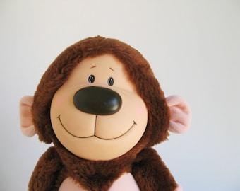 Vintage Monkey Stuffed Animal by Emotions 1980s Toy 1984 Gorilla Ape Tail Nipples Smile Plush