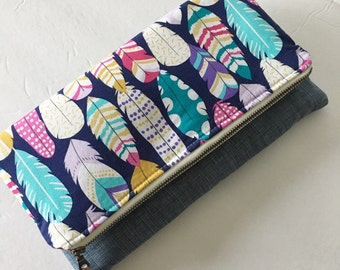Fold over clutch, Extra large zippered pouch, feathers