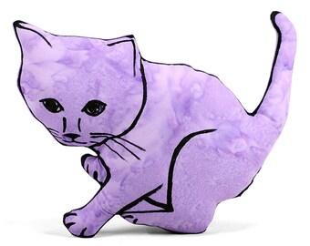 decorative pillow, kitten shaped pillow, plush kitten pillow, cat pillow, kitty pillow, animal shaped pillow, purple batik fabric pillow