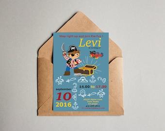 Digital file pirate birthday party invitation- boy birthday - party printable