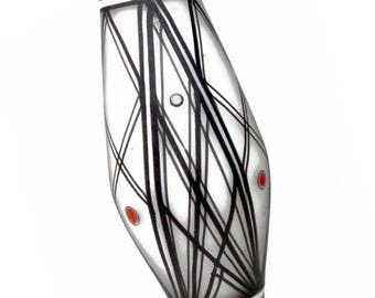 Radiating Line Pattern on White with Red, handmade lampwork glass bead focal by JC Herrell