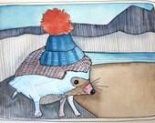 Art - Original Art - Painting - Hedgehog Painting - Cute Art - Hedgehog Illustration - Adventure Hedgehog - Small Art - Hedgehog Adventurer