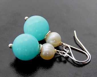 Blue Earrings, Pearl Earrings, Blue and White, Baby Blue Jade Drops, Sterling Silver