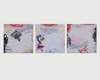 """TRIPTYCH - Vintage Abstract Original PAINTING 40""""x 12"""" Contemporary Modern Art 3 Part Collage Mixed Media Painting #1420"""
